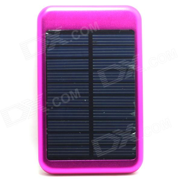 JY-6000T Solar Powered 5000mAh Li-polymer Battery Power Bank for IPHONE / Samsung - Dark Pink jc4w60 foldable 5000mah solar powered external battery power bank white black