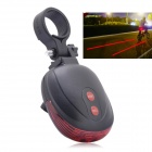 3-Mode Red Laser Bicycle Tail Lamp - Black + Red (2 x AAA)