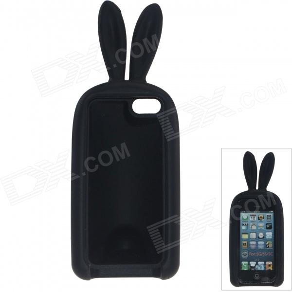 Cute Rabbit Style Protective Silicone Back Case for IPHONE 5 / 5S - Black cute rabbit style protective silicone back case for iphone 5 5s yellow