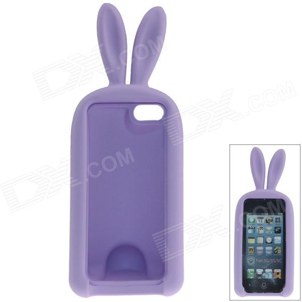 Cute Rabbit Style Protective Silicone Back Case for IPHONE 5 / 5S - Purple small holes style protective pe back case for htc one x s720e purple