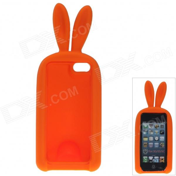 Cute Rabbit Style Protective Silicone Back Case for IPHONE 5 / 5S - Orange cute rabbit style protective silicone back case for iphone 5 5s yellow