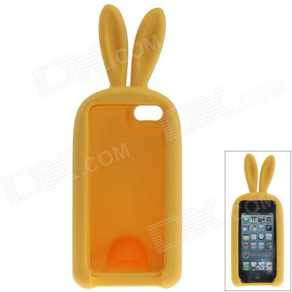 Cute Rabbit Style Protective Silicone Back Case for IPHONE 5 / 5S - Yellow cute marshmallow style silicone back case for iphone 5 5s green yellow