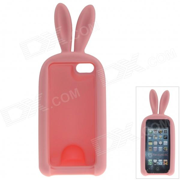 Cute Rabbit Style Protective Silicone Back Case for IPHONE 5 / 5S - Pink cute rabbit style protective silicone back case for iphone 5 5s yellow