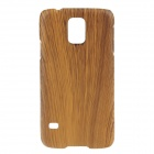 Protective Plastic Wood Shell Back Case for Samsung Galaxy S5 - Yellow
