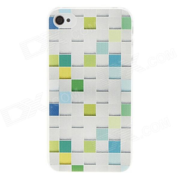 Kinston Grid Pattern Protective Plastic Hard Back Case for IPHONE 4 / 4S - White + Light Green iris pattern protective plastic back case for iphone 3g white