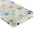 Kinston Grid Pattern Protective Plastic Hard Back Case for IPHONE 4 / 4S - White + Light Green