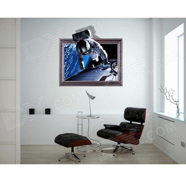 3D Astronauts Wall Sticker Decal - Sapphire + Silver astronauts level 1