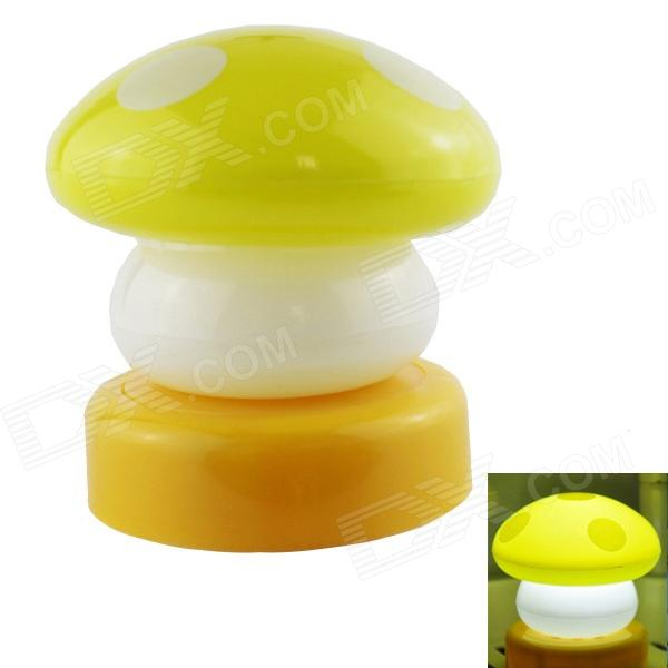 Fashion Mini Cute Small Mushroom LED Night Lamp - Yellow + White