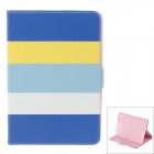 Stylish Protective PU Leather + Silicone Case Stand w/ Auto-Sleep Cover for IPAD AIR - Blue + White