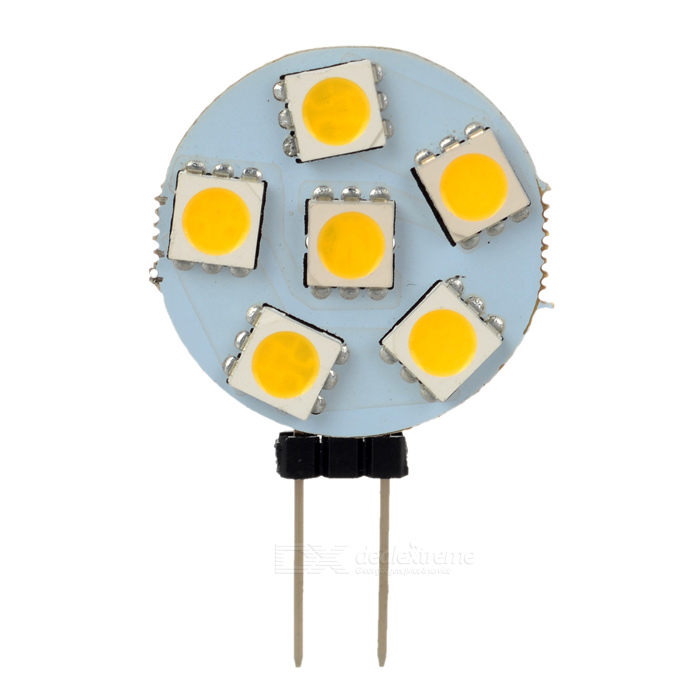 G4 1W Warm White LED Polarity Free Car Instrument/Reading Light (12V)G4<br>Color BINWarm WhiteBrandN/AModelG4-DM50-6-WNQuantity1 DX.PCM.Model.AttributeModel.UnitMaterialPCBForm  ColorOthers,white + yellowEmitter Type5050 SMD LEDChip BrandOthersChip Type5050 SMD LEDTotal Emitters6Power1WColor Temperature3000 DX.PCM.Model.AttributeModel.UnitTheoretical Lumens100 DX.PCM.Model.AttributeModel.UnitActual Lumens100 DX.PCM.Model.AttributeModel.UnitRate Voltage12VWaterproof FunctionNoConnector TypeG4ApplicationInstrument lamp,Signal light,Indicator lamp,Roof light,Reading lampPacking List 1 x LED car light<br>