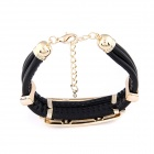 Fenlu Women's Fashionable Waist Belt Buckle Style Bracelet - Black + Golden