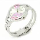 Fashionable Women's Bracelet Style Analog Quartz Wrist Watch - Silver + Pink (1 x LR626)