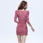 Fashionable OL V-Neck Long Sleeves Bodycon Polyester Dress for Women - Pink