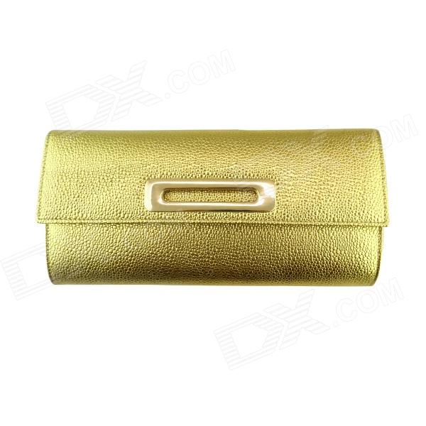 IN-Color Fashionable Water Drop Pattern PU Evening Handbag w/ Chain for Women - Golden