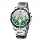 Men's Fashion Water Resistant Analog Quartz Wrist Watch - Silver + Green