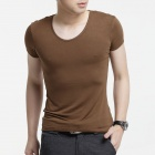 FENL A520 Men's Slim Fit Round Neck Short Sleeve Modal T-Shirt Tee - Coffee (Size XL)
