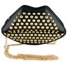 Fashionable Big Lip Shaped PU Rivet Shoulder Bag Messenger Bag for Women - Black + Golden
