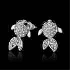 Goldfish Shaped Rhinestone Zinc Alloy Stud Earrings - Silver