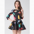 Stylish Cotton Long Sleeves One-piece Dress - Black+ Multicolor (Size M)