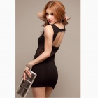Fashionable Sexy Cotton + Mesh Sleeveless Backless Vest Dress - Black