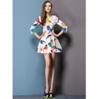 Stylish Cotton Long Sleeves Round Neck One-Piece Dress - White + Multicolor (Size M)