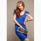 Fashionable Sexy Cross Backless Viscose Dress - Blue