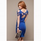 Moda Sexy croce Backless abito viscosa - blu