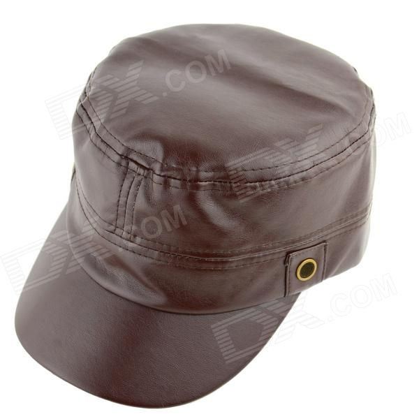 YUSHAN Fashionable PU Leather Four Seasons Hat - Brown