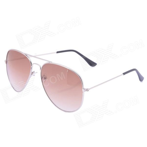 Casual Classical UV400 PC Lens Sunglasses w/ Car Vehicle Visor Holder Clip - Brown + Silver