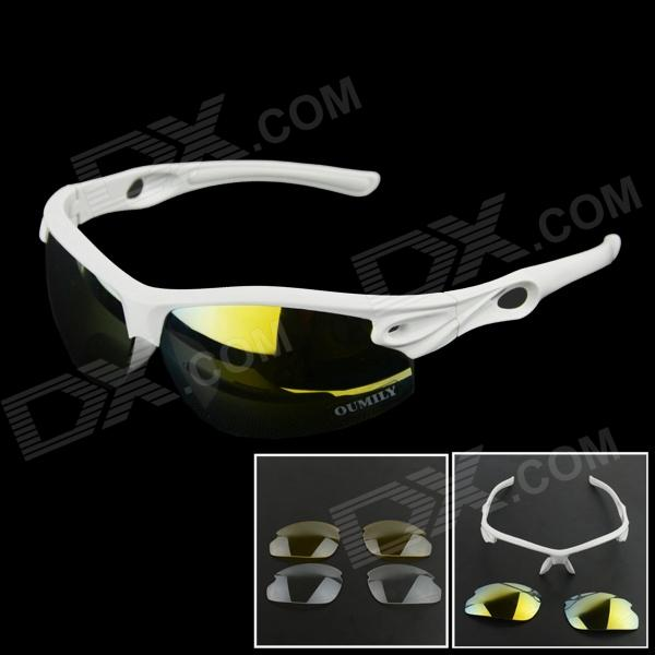 OUMILY Outdoor Cycling Sunglasses Goggles White w/ Replaceable Lens Set - White topeak outdoor sports cycling photochromic sun glasses bicycle sunglasses mtb nxt lenses glasses eyewear goggles 3 colors