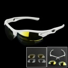 OUMILY Outdoor Cycling Sunglasses Goggles White w/ Replaceable Lens Set - White