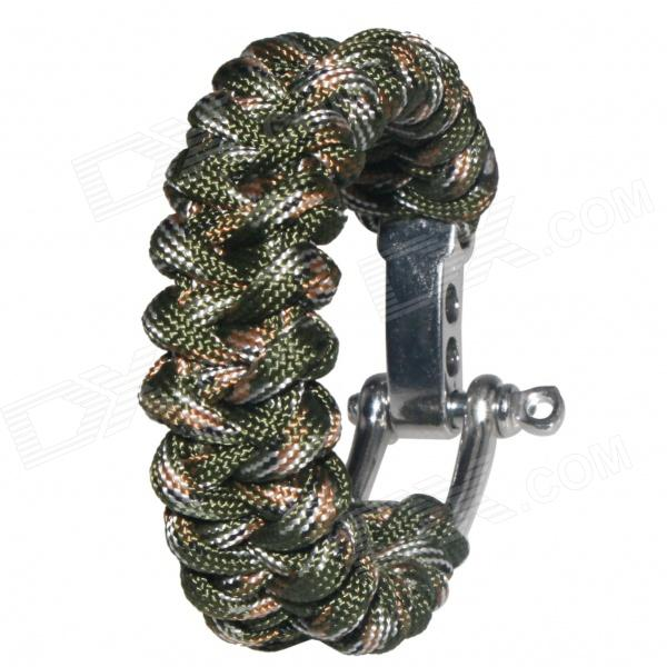 Bracelet Style Nylon + Stainless Steel Outdoor Survival Emergency Rope - Army Green + Brown military nylon stainless steel survival paracord bracelet khaki