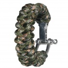 Bracelet Style Nylon + Stainless Steel Outdoor Survival Emergency Rope - Army Green + Brown