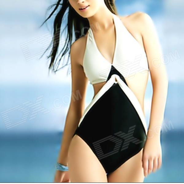 Women's Sexy Hollowed Nylon + Spandex One-piece Swimsuit - Black + White (Size L)