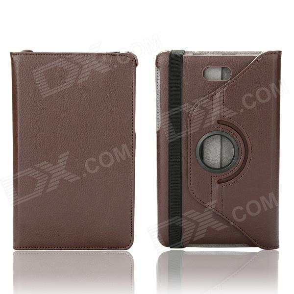 Litchi Texture 360 Degree Rotation Protective Case Cover Stand for Dell Venue 8 Pro - Brown