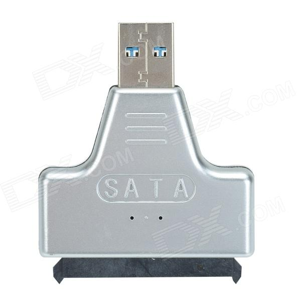 USB 3.0 Male to SATA Female Adapter + USB 3.0 Male to Female Cable for 2.5 Hard Disk - Silver usb 3 0 male to sata female adapter usb 3 0 male to female cable for 2 5 hard disk rose red