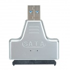 "USB 3.0 Male to SATA Female Adapter + USB 3.0 Male to Female Cable for 2.5"" Hard Disk - Silver"
