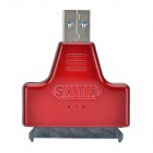 "USB 3.0 Male to SATA Female Adapter + USB 3.0 Male to Female Cable for 2.5"" Hard Disk - Black Red"