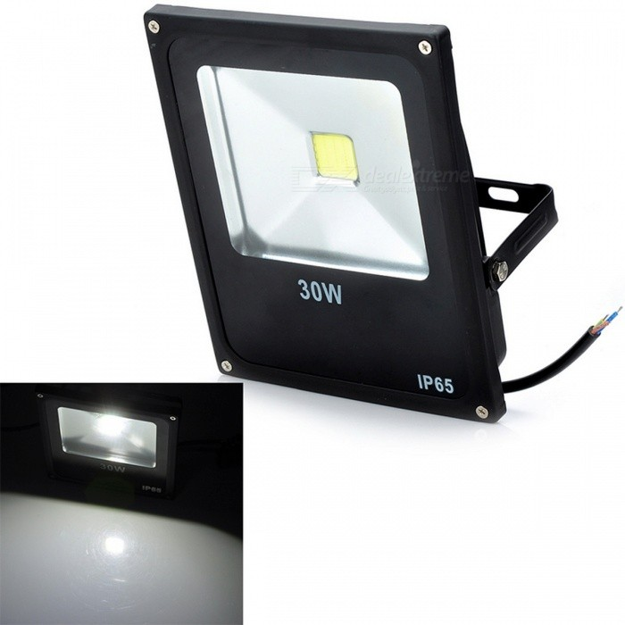 Utendørs Vanntett Flat Panel 30W 2500lm 6500K LED Hvit Lys Flood Lamp - Svart (85 ~ 265V)