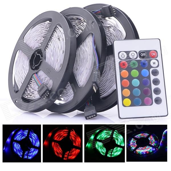 24W 1200lm 300-SMD LED RGB light strips w / remote (3PCS / DC 12V)