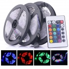 24W 1200lm 6500K 300-SMD 3528 LED RGB Light Strips w/ Remote Control (3 PCS / DC 12V)