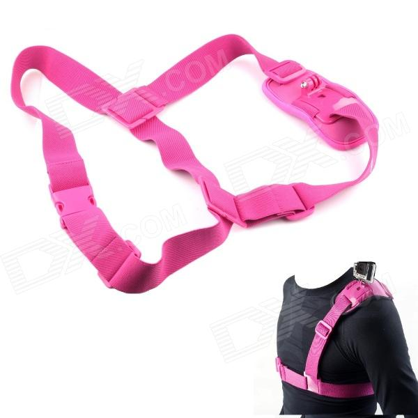 NEOpine Colorful Single Shoulder Chest Strap Mount for GoPro Hero 2 / 3 / 3+ Camera - Pink