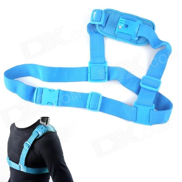 NEOpine Colorful Single Shoulder Chest Strap Mount for Gopro Hero 4/ 2 / 3 / 3+ / SJ4000 - Blue dz 314 360 degrees turn b model chest band with j hook buckle mount for gopro hero 3 2 1