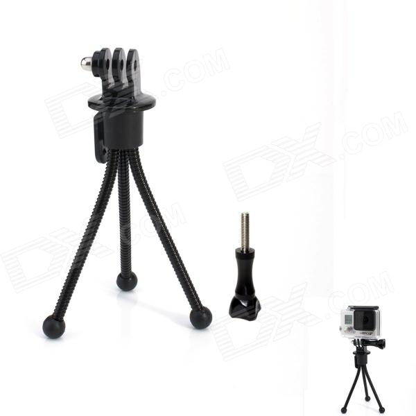 JUSTONE Mini 4-inch Metal Tripod Stand Holder for Camera / GoPro Hero 4/3+ / 3 / 2 / 1/SJ4000 - Black hti трактор с прицепом jcb