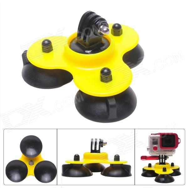 Fat Cat M-TS Super Triple-Cup Advanced Suction Mount for Gopro Hero 4/ 3+/3/2/1/SJ4000 - Black + Yellow universal car suction cup mount bracket holder stand for samsung galaxy note 3 more black