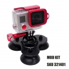 M-TS Triple-Cup Suction Mount for GoPro Hero 4/3+/3/2/1, SJ4000 -Black