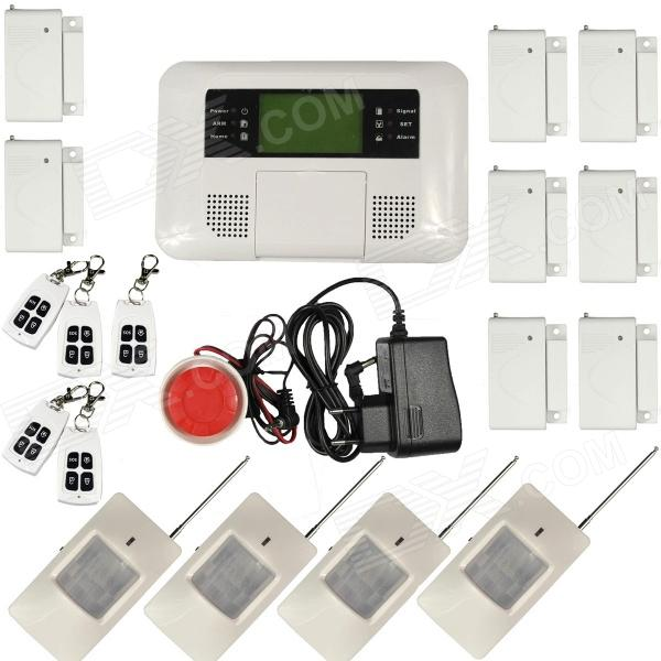 Home Security Quad-Band GSM + PSTN Alarm System w/ Detector Sensor Kit / Remote Control - White 9100 a quad band gsm sms home burglar security alarm system w detector sensor kit remote control
