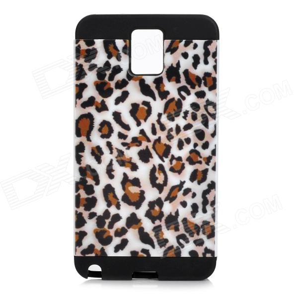 Leopard Pattern Protective PVC + Silicone Back Case for Samsung Galaxy Note3 N9000 - Black + White stylish bubble pattern protective silicone abs back case front frame case for iphone 4 4s