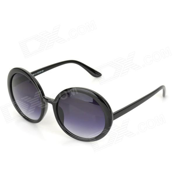 QS044 Retro Fashionable Round Frame UV400 Protection PC Frame Resin Lens Sunglasses - Black + Grey