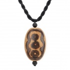 Fenlu FL-039 Cord Chain Six Eye Agate Pendant Necklace - Light Yellow + Brown